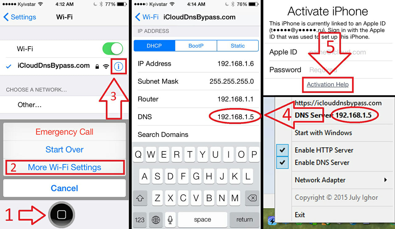 ios activation lock bypass dns